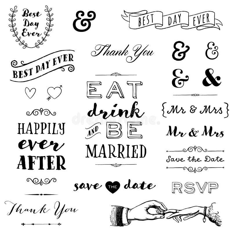 Hand gezeichnete Heiratstypographie lizenzfreie abbildung