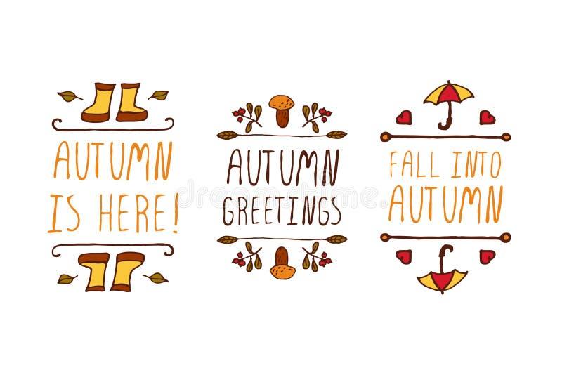 Hand gezeichnete Herbstelemente mit Aufschrift lizenzfreie abbildung