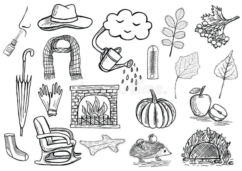Hand gezeichnete Herbstikonenillustration lizenzfreie abbildung