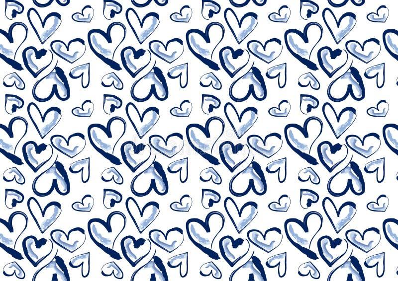 Hand gezeichnete Herzen im blauen Denim stock abbildung