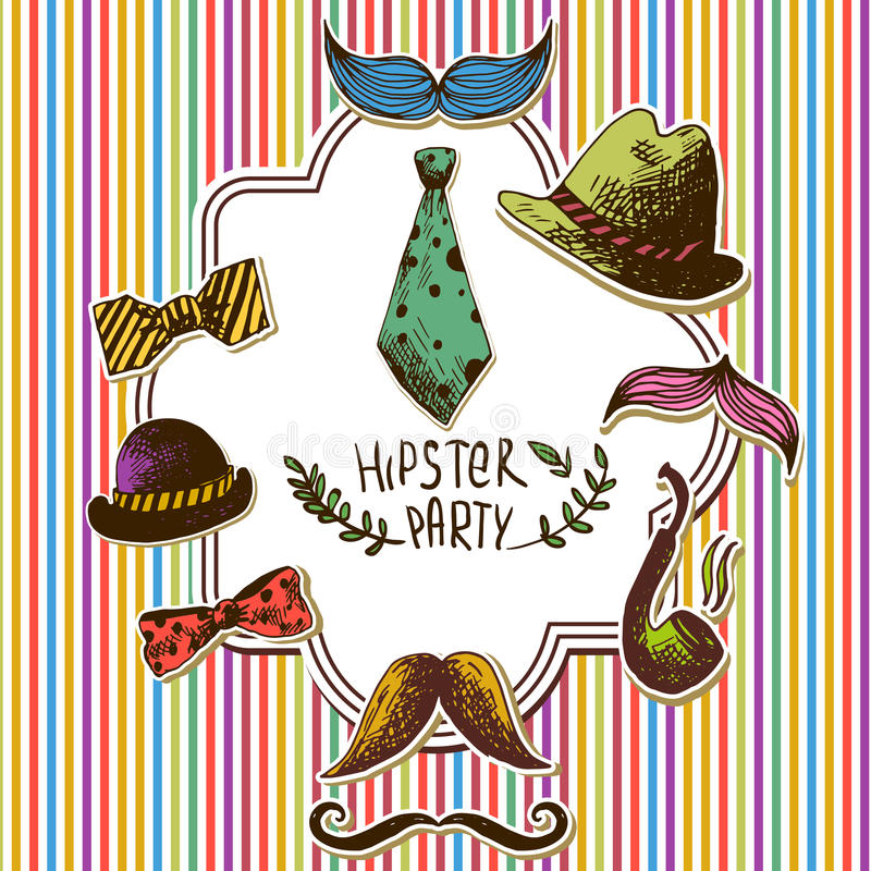 Hand gezeichnete Hippie-Weinlese-Karte, Einladung, Rahmen stock abbildung