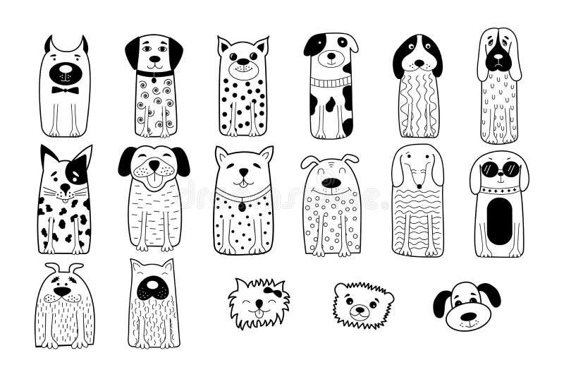 Hand gezeichnete Hunde Lustige Tiere Auch im corel abgehobenen Betrag stock abbildung