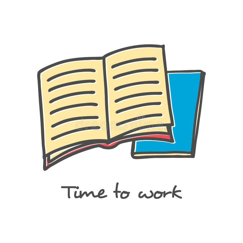 Hand gezeichnete Ikone des offenen Buches stock abbildung