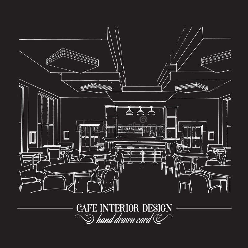 Hand gezeichnete Illustration der Innenarchitektur des Restaurants vektor abbildung