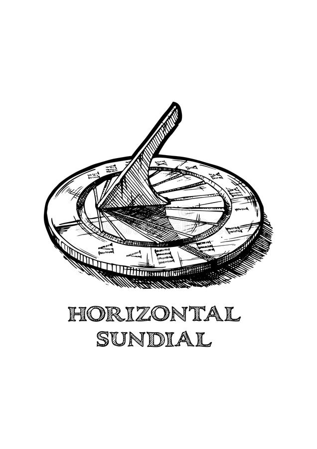 Hand gezeichnete Illustration der Sonnenuhr lizenzfreie abbildung