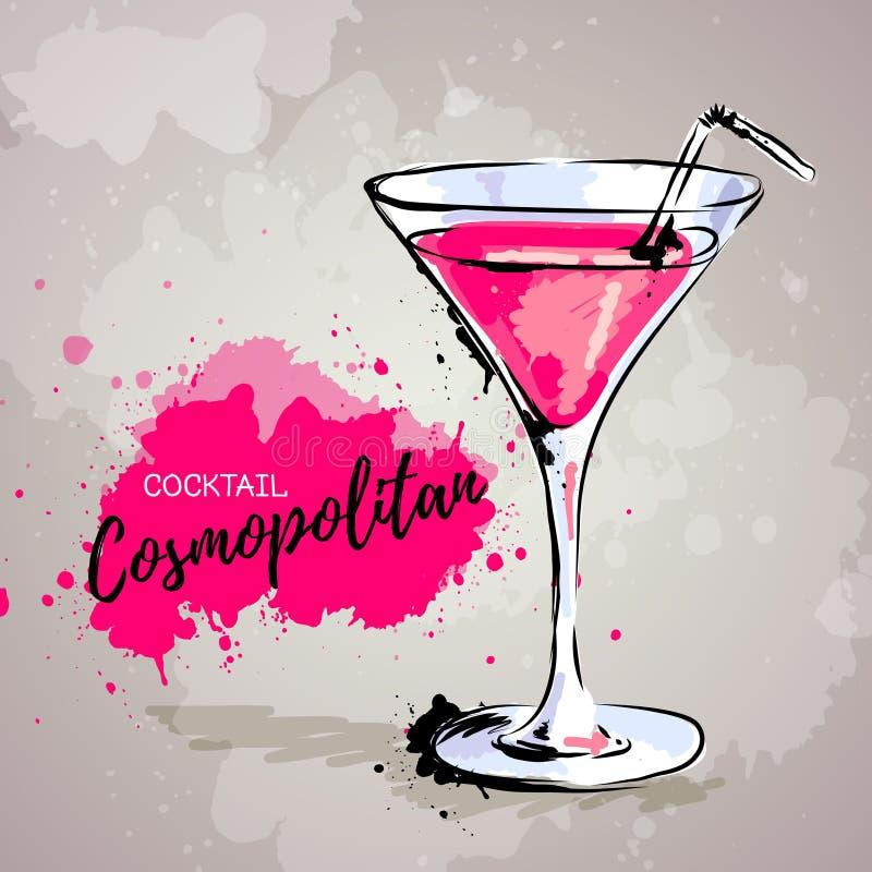 Hand gezeichnete Illustration des Cocktails kosmopolitisch lizenzfreie abbildung