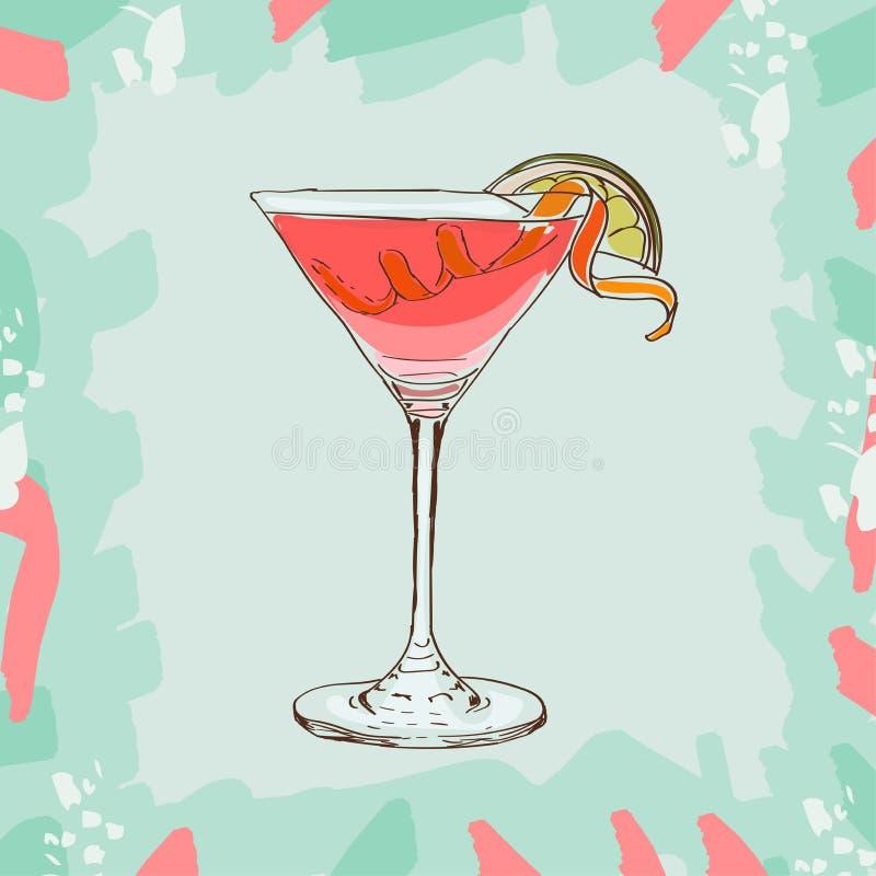 Hand gezeichnete Illustration des Cocktails kosmopolitisch Nahtloser Blumenhintergrund vektor abbildung