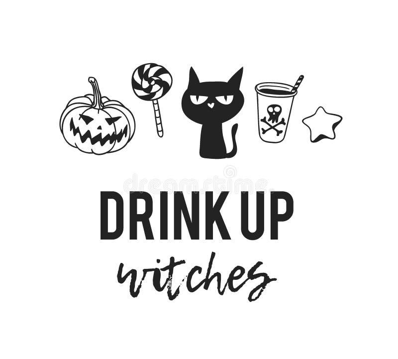 Hand gezeichnete Illustration Halloween-Gegenstände und -zitat Kreatives Tintenkunstwerk Tatsächliche Vektorzeichnung Künstlerisc lizenzfreie abbildung