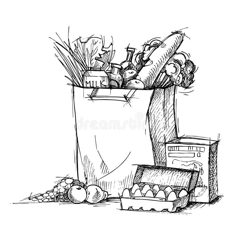 Hand gezeichnete Illustration - Papiertüte mit Lebensmittel skizze Vektor vektor abbildung