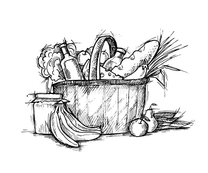 Hand gezeichnete Illustration - Warenkorb mit Lebensmittel skizze Vecto stock abbildung