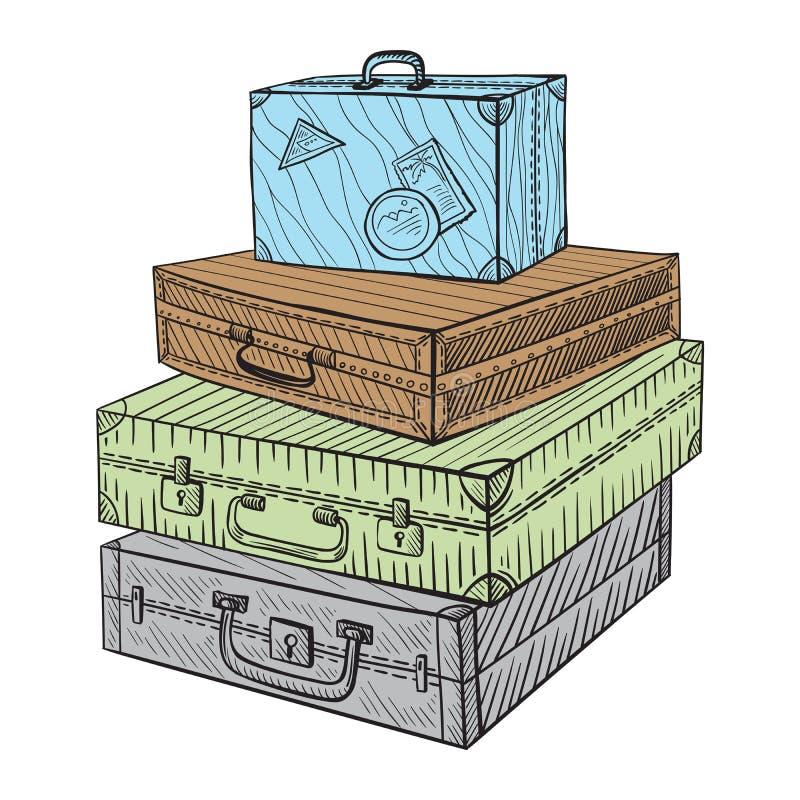 Hand gezeichnete Illustrationskoffer in der Skizzenart vektor abbildung