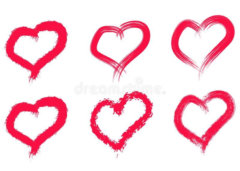 Hand gezeichnete Innere eingestellt Lieben Sie Symbol mit der trockenen B?rstenmalerei, lokalisiert stockfotografie