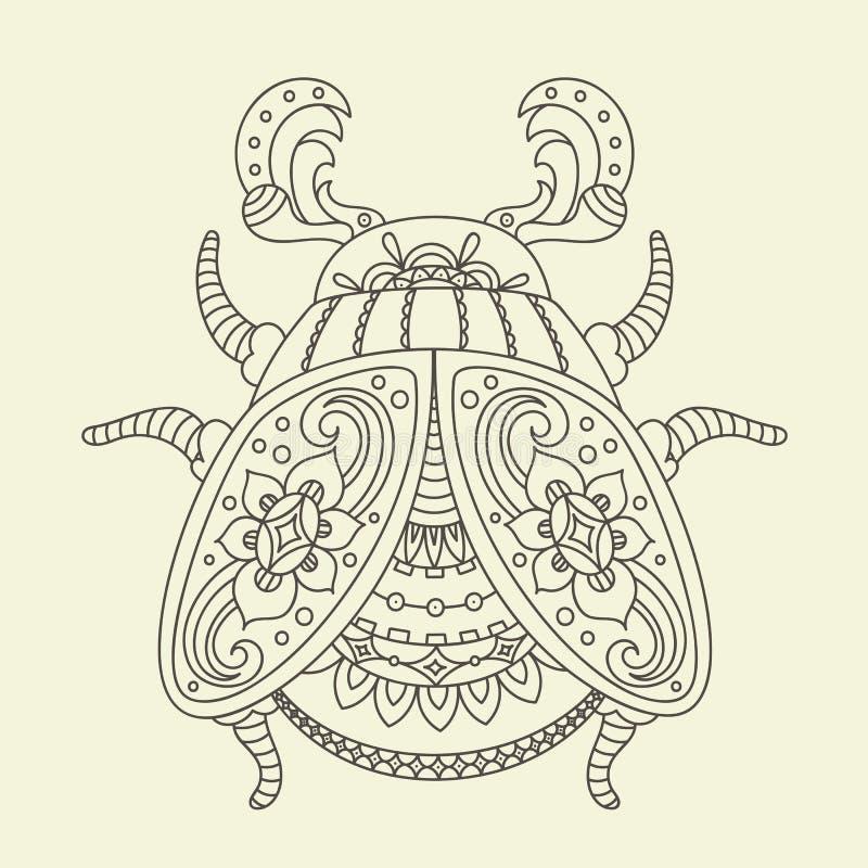Hand gezeichnete Käfer-/Wanzenfarbtonseite lizenzfreie abbildung