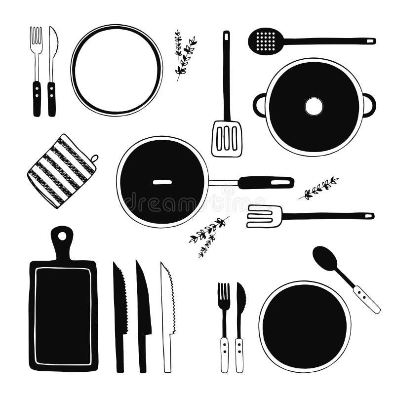 Hand gezeichnete Küchen-Geräte eingestellt Küche bearbeitet Sammlung Kochen der Ausrüstung, Küchengeschirr, Geschirr, Teller vektor abbildung