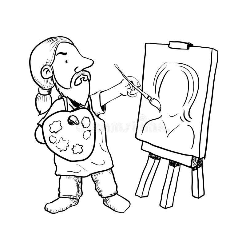 Hand gezeichnete Karikatur-Künstler-Malervektor-Illustration vektor abbildung