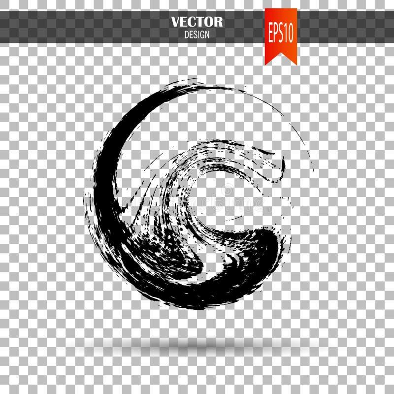 Hand gezeichnete Kreisform Aufkleber, Logogestaltungselement Bürstenzusammenfassungswelle Schwarzes enso Zensymbol Schablone für  lizenzfreie stockfotografie