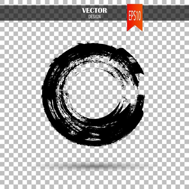 Hand gezeichnete Kreisform Aufkleber, Logogestaltungselement Bürstenzusammenfassungswelle Schwarzes enso Zensymbol Schablone für  stockfoto