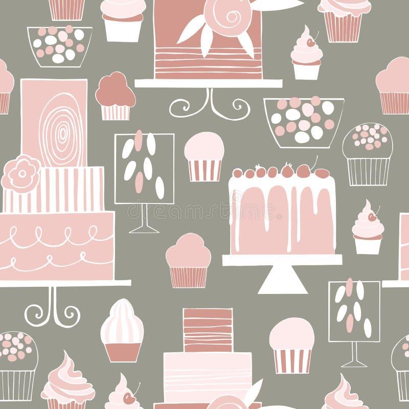 Hand gezeichnete Kuchen und kleine Kuchen Hochzeitsnachtischstange mit Kuchen Schalter vektor abbildung