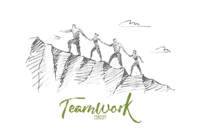 Hand gezeichnete Leute, die oben Hügelhändchenhalten klettern lizenzfreie abbildung