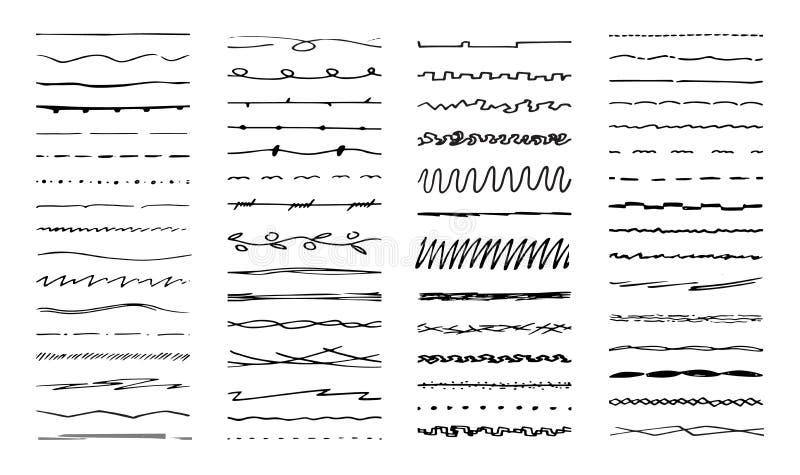Hand gezeichnete Linien Gezogene Linie des Tintenstiftes, Bürste und Bleistiftanschläge unterstreichend Feldteiler zeichnen, Hoch vektor abbildung