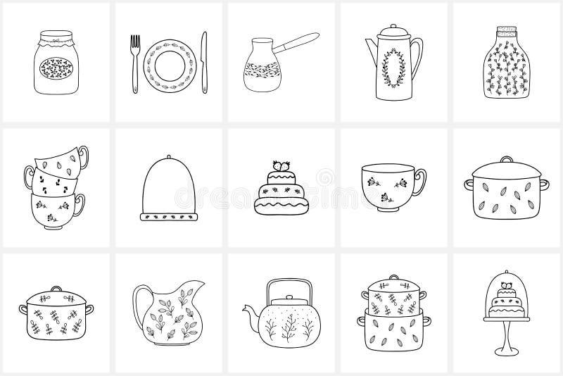 Hand gezeichnete Logoelemente und -ikonen stockfotos