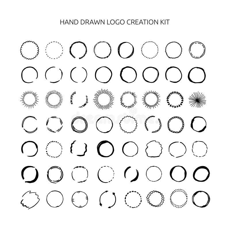 Hand gezeichnete Logoschaffungsausrüstung stock abbildung