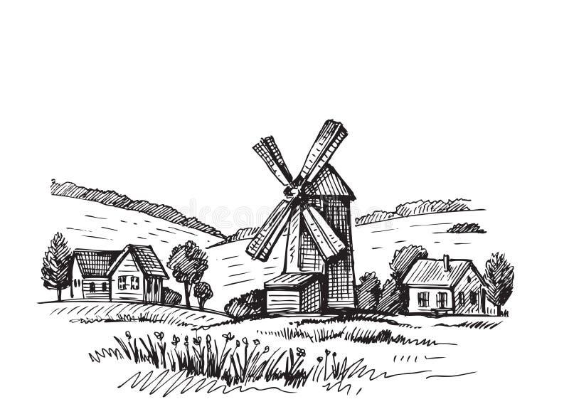 Hand gezeichnete Mühle lizenzfreie abbildung