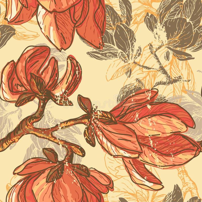 Hand gezeichnete Magnolie blüht nahtloses Muster lizenzfreie abbildung