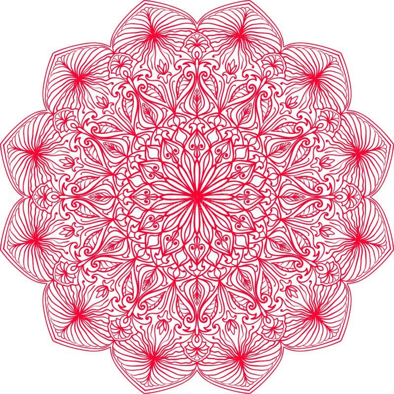 Hand gezeichnete Mandala Spitzen- Muster der ethnischen Runde mit bunter Verzierung Lokalisierte Illustration in der rosa Farbe stock abbildung