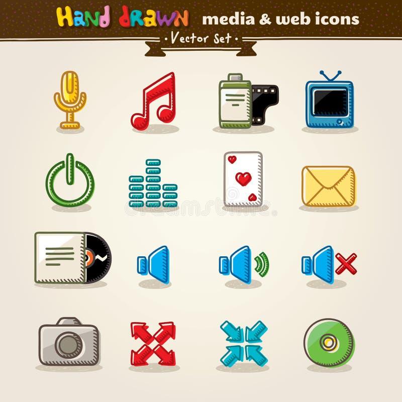 Hand Gezeichnete Media Und Unterhaltungs-Web-Ikonen Stockfoto