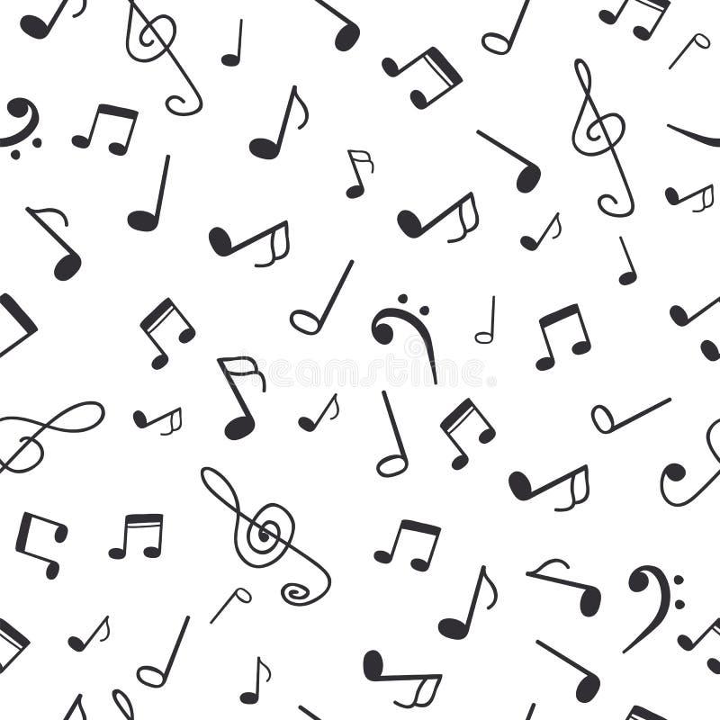 Hand gezeichnete Musikanmerkungen Nahtloser Musterhintergrund der Musik lizenzfreie abbildung