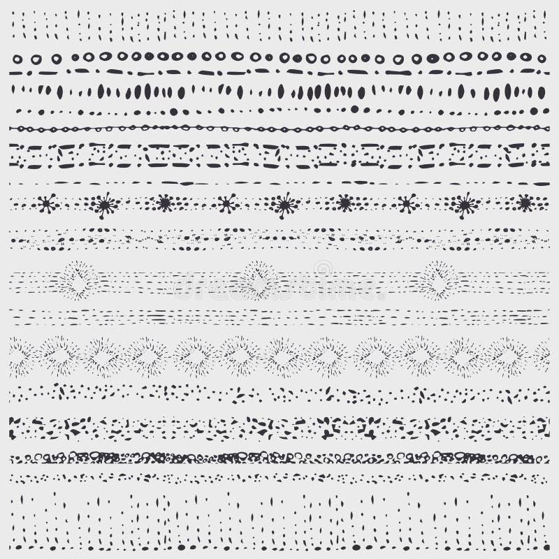 Hand gezeichnete nahtlose Linie Grenzen des Gekritzels Künstlerischer Pinsel schwarzes vektor abbildung