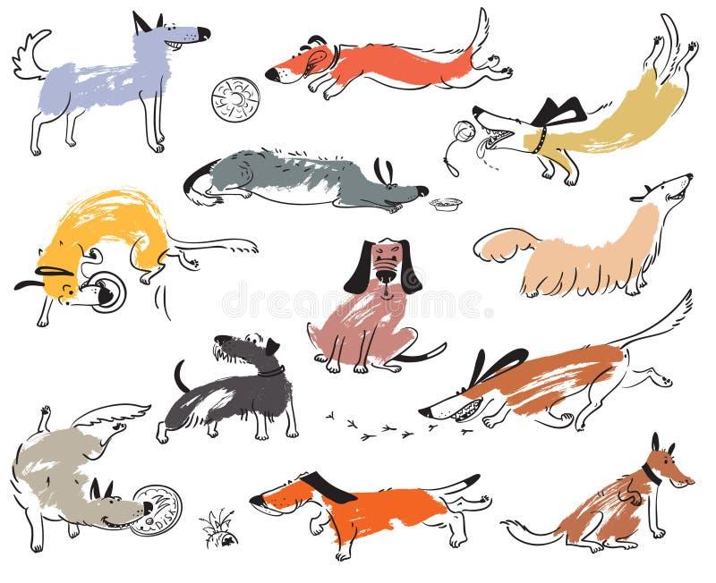 Hand gezeichnete nette Hunde des Gekritzels Illustration eingestellt mit plaing Haustieren w stock abbildung