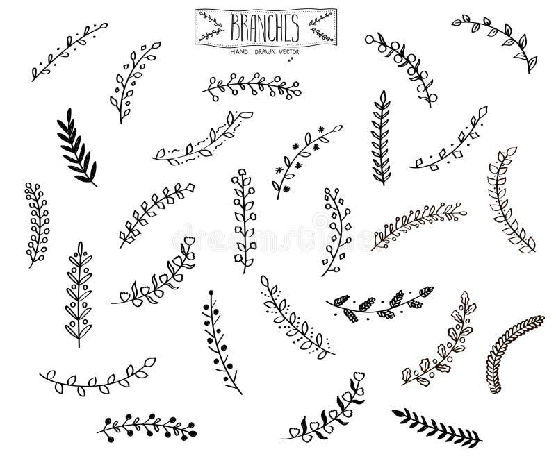 Hand gezeichnete Niederlassungen stockbilder