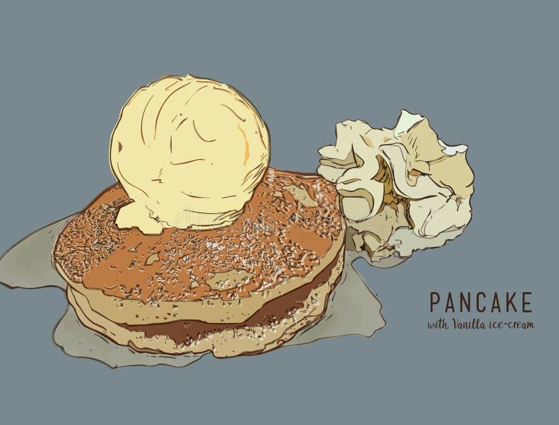 Hand gezeichnete Pfannkuchen mit Vanilleeis und Sirup stock abbildung
