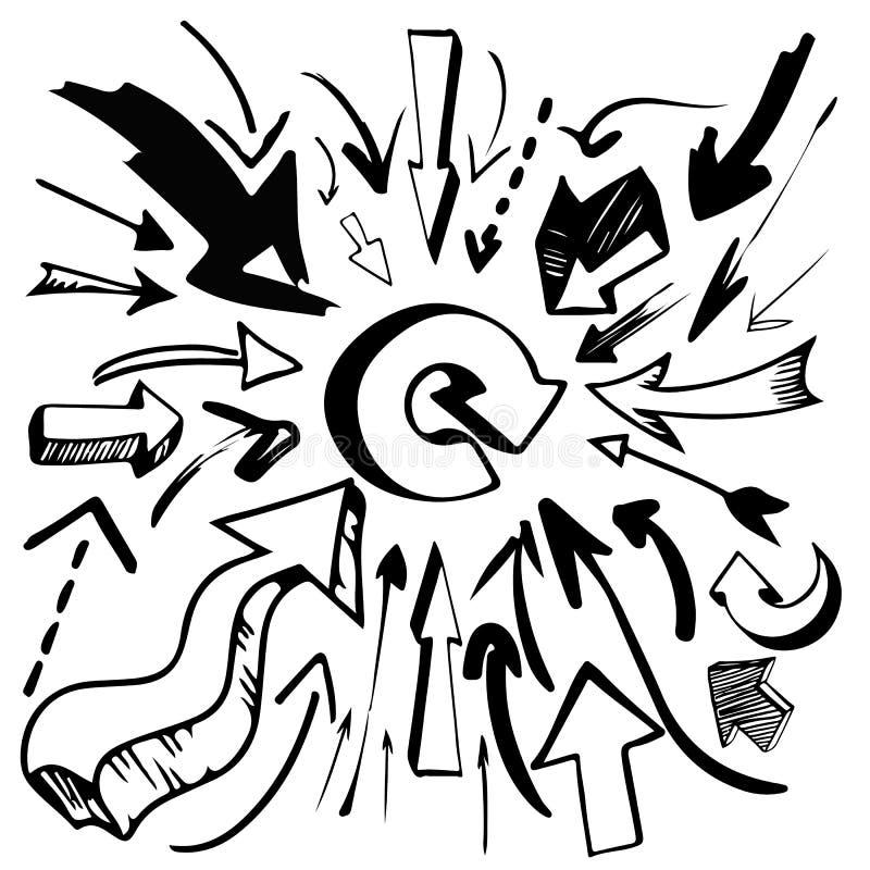 Hand gezeichnete Pfeile stockfotos