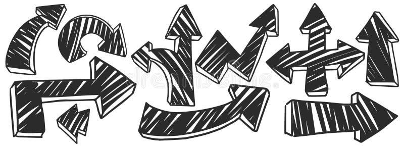 Hand gezeichnete Pfeile 3D mit schwarzer Farbe in den verschiedenen Richtungen stock abbildung