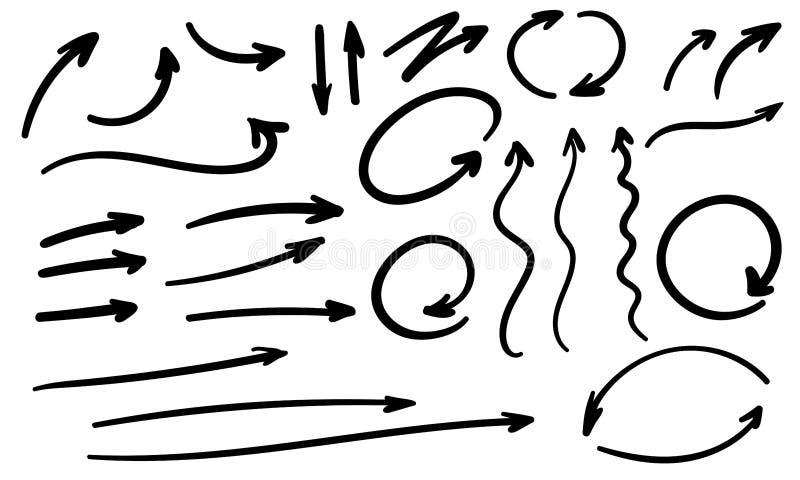Hand gezeichnete Pfeilvektorzusammenfassungs-Formikonen stock abbildung