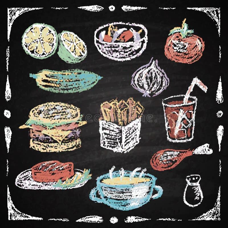 Hand gezeichnete Restaurantmenüelemente. stock abbildung