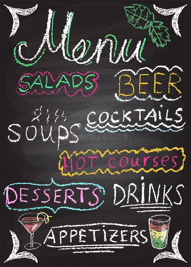 Hand gezeichnete Restaurantmenüelemente. lizenzfreie abbildung