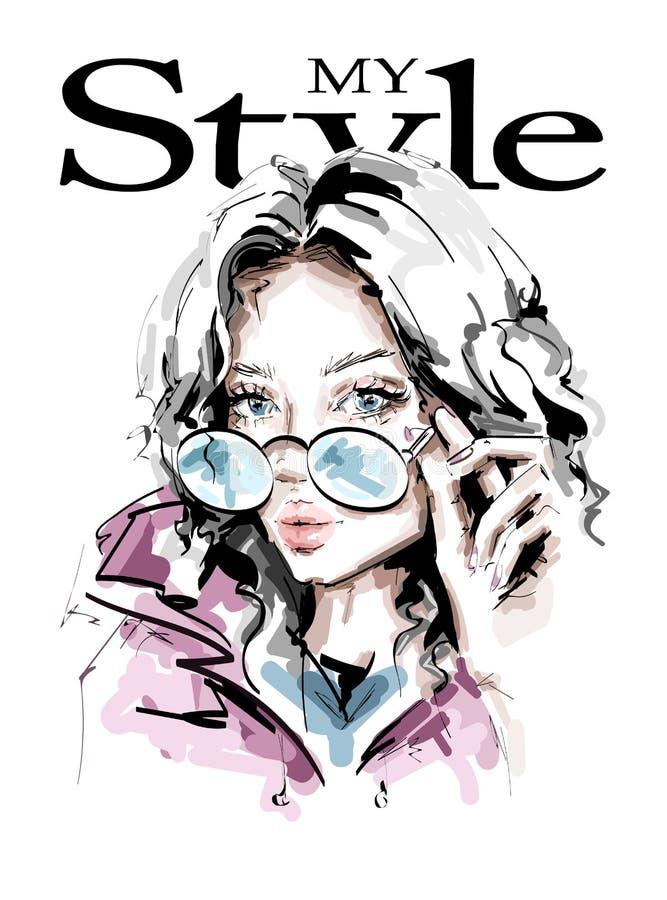 Hand gezeichnete schöne junge Frau in der Sonnenbrille Stilvolles Mädchen Modefrauenblick Schönes weibliches Gesicht skizze vektor abbildung