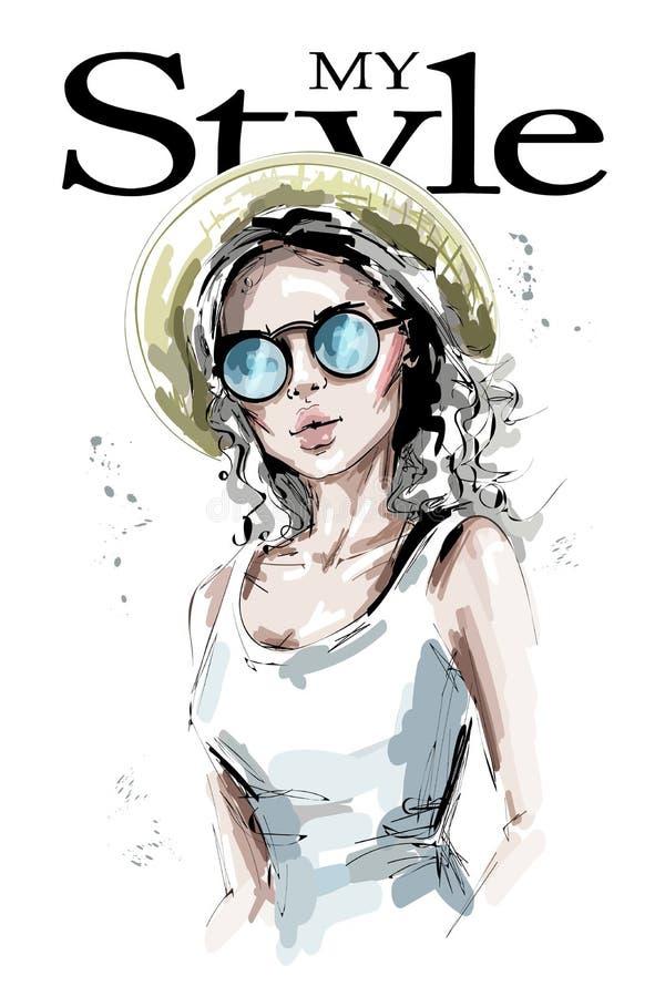 Hand gezeichnete schöne junge Frau im Hut Stilvolles Mädchen des blonden Haares in der Sonnenbrille Modefrauenblick stock abbildung
