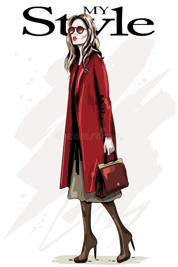 Hand gezeichnete schöne junge Frau mit Tasche Modefrau im roten Mantel lizenzfreie abbildung