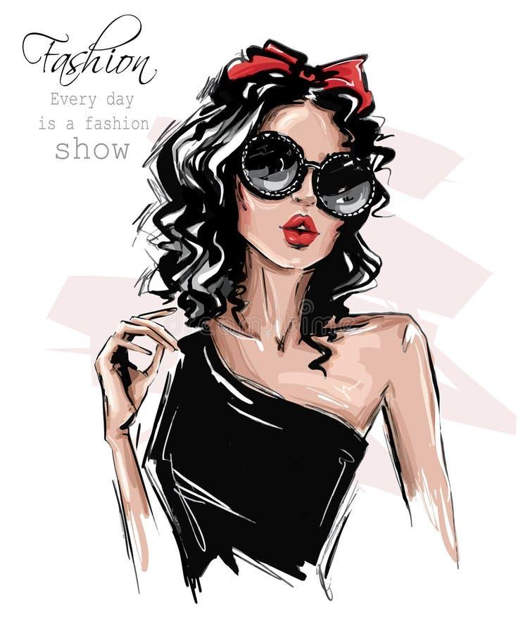 Hand gezeichnete sch?ne junge Frau in der Sonnenbrille Stilvolles Mädchen mit Bogen auf ihrem Kopf Modefrauenblick skizze lizenzfreie abbildung
