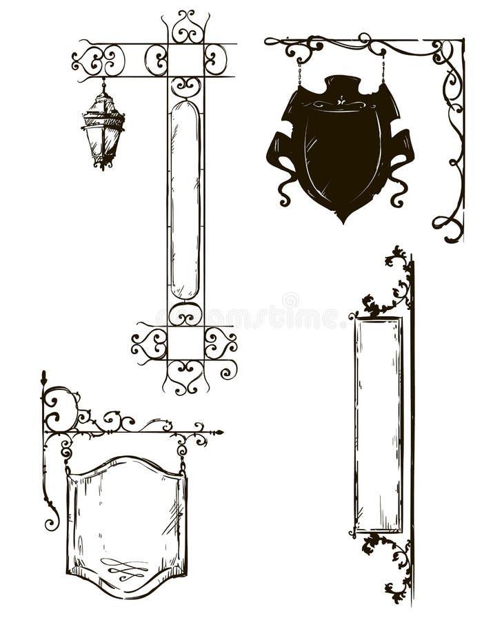 Hand gezeichnete Schilder Shopzeichen freihändig Vektor vektor abbildung