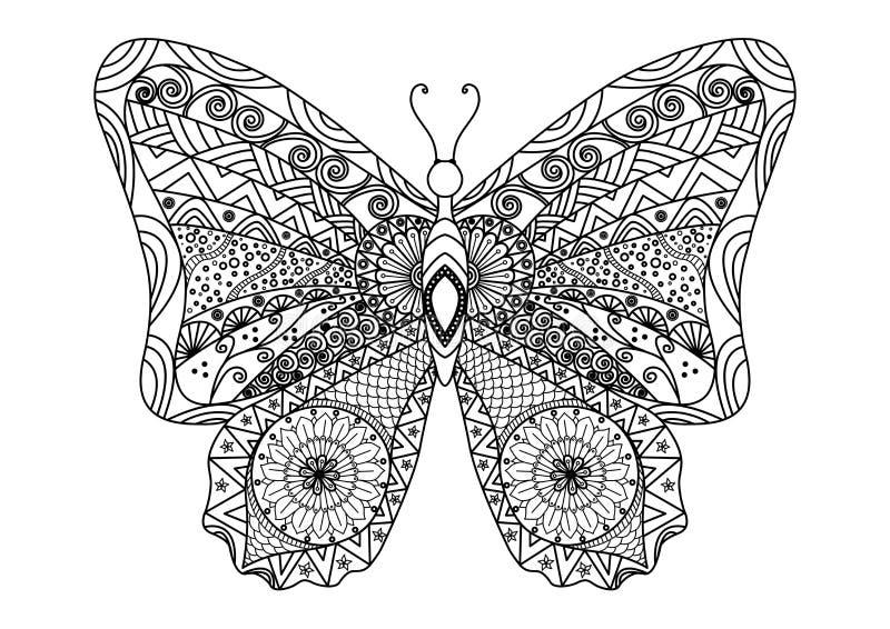 Hand gezeichnete Schmetterling zentangle Art für Malbuch lizenzfreie stockfotos