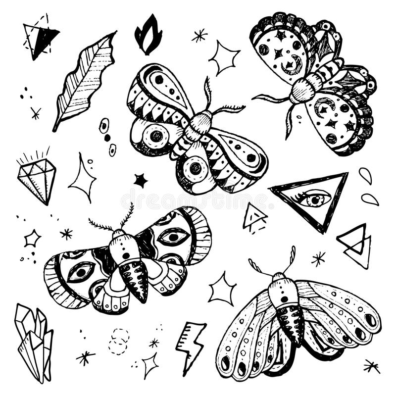 Hand gezeichnete Schmetterlinge eingestellt stock abbildung