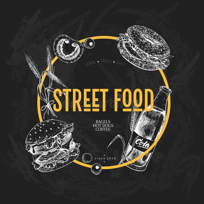 Hand gezeichnete Schnellimbissfahne Kreativer Flieger des Straßenlebensmittels Burger, Soda, Tomate, Bagel, Weizenfässer und Oliv stock abbildung