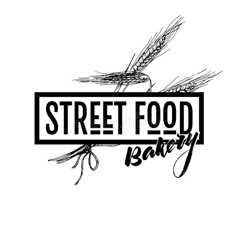 Hand gezeichnete Schnellimbissfahne Straßenlebensmittelbäckerei gestaltete Logo mit Weizen ERS Gravierte Vektorillustration ein g lizenzfreie abbildung