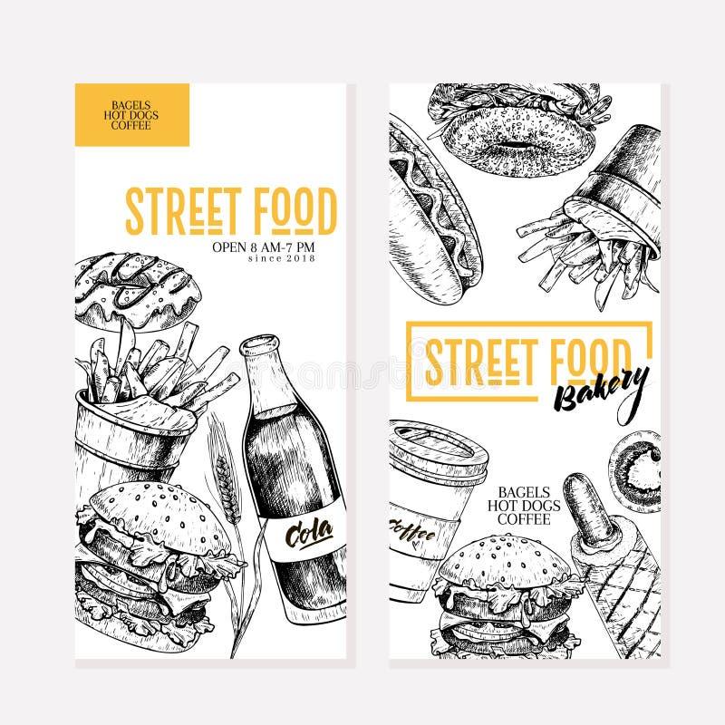 Hand gezeichnete Schnellimbissflieger Kreative Fahne des Straßenlebensmittels Burger, Soda, Fischrogen, Bagel, Donut, Hotdoge Gra stock abbildung